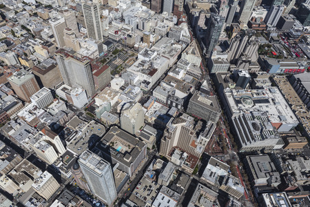 San Francisco, California, USA - September 19, 2016:  Aerial view of urban downtown San Francisco streets and buildings. Editorial