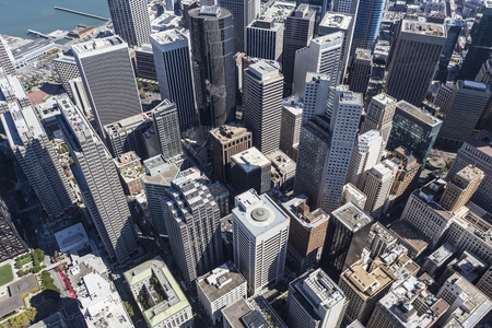 downtown district: Afternoon aerial view of downtown San Francisco central business district.