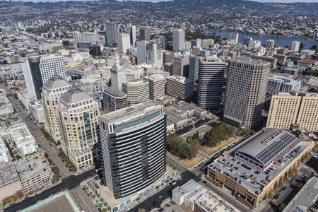 Aerial view of downtown Oakland, California. Stock Photo