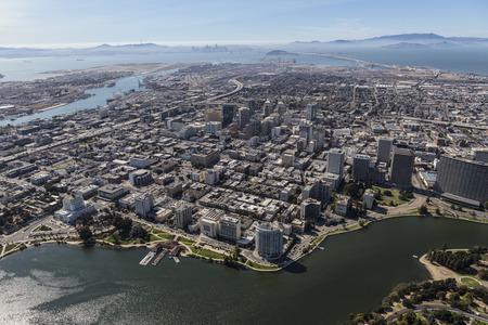 Oakland aerial view towards San Francisco, California. Stock Photo