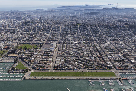 Afternoon aerial view of San Francisco Bay and the Marina District community.