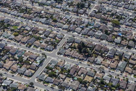 Aerial of middle class residential neighborhood near Oakland, California. Stock Photo