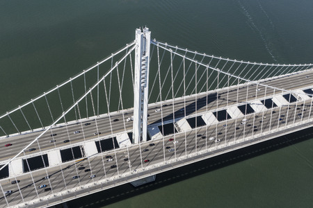 Afternoon aerial view of the Bay Bridge between Oakland and San Francisco, California. Stock Photo