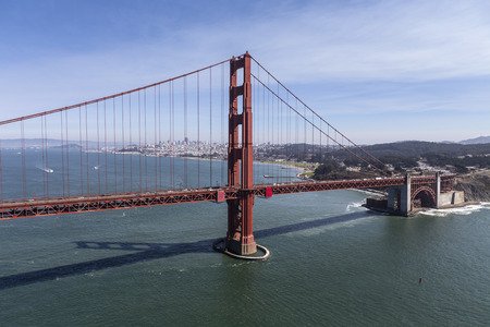 Aerial view of the Golden Gate Bridge with San Francisco in background. Stock Photo