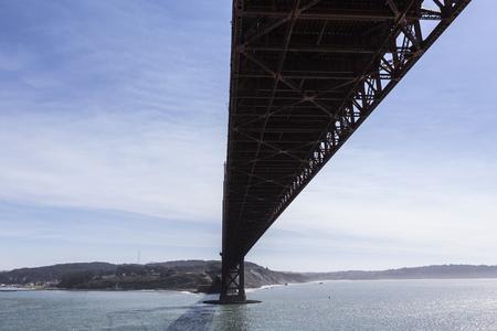 Under the Golden Gate bridge in San Francisco, California.