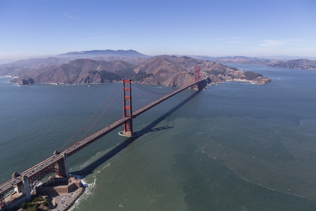 Aerial of the Golden Gate Bridge, Fort Point and Marin Headlands near San Francisco, California. Stock Photo