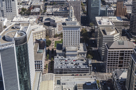 building structures: Aerial view of Oakland City Hall near San Francisco in California. Stock Photo