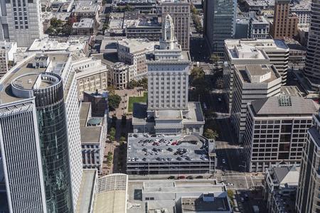 Aerial view of Oakland City Hall near San Francisco in California. Stock Photo