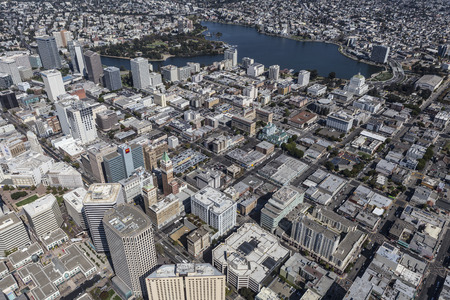 Oakland, California, USA - September 19, 2016:  Aerial view of downtown architecture in Oakland, California. Editorial