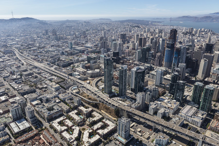 Aerial view of the end of Interstate 80 in downtown San Francisco, California.