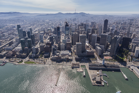 finacial: Afternoon aerial view of the downtown waterfront in San Francisco, California.