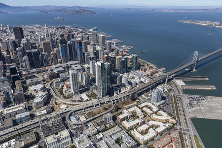Aerial view of clear day in urban San Francisco and the San Francisco bay in California.
