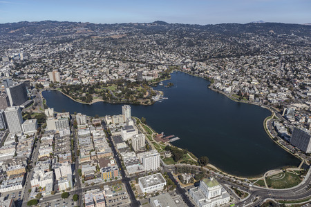 Lake Merritt Park near Downtown Oakland, California.