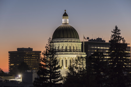 governmental: California State Capitol building at dusk. Editorial