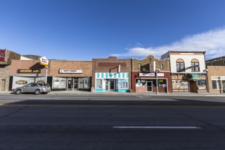 Ely, Nevada, USA - October 16, 2016: Vintage small town storefronts in rural Ely Nevada.