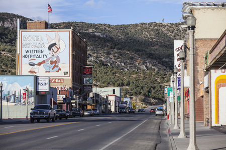 highway 6: Ely, Nevada, USA - October 16, 2016:  Historic Ely business district in rural Eastern Nevada.