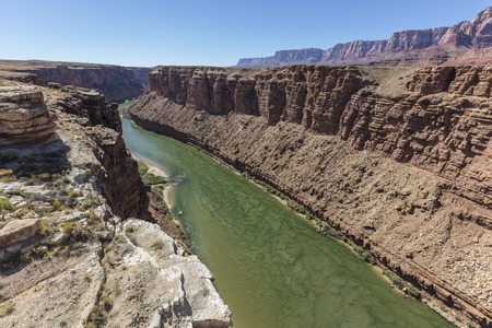 Colorado River flowing towards Grand Canyon National Park near Marble Canyon in Northern Arizona.