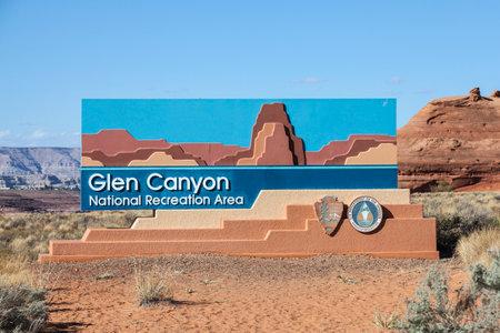 recreation area: Page, Arizona, USA - October 17, 2016:  Glen Canyon National Recreation Area entrance sign in the Northern Arizona desert. Editorial
