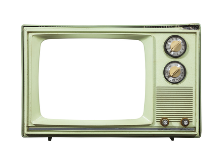 television set: Grungy green vintage television set isolated with cut out screen. Stock Photo