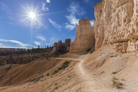 Hiking trail leading towards the sun at Bryce Canyon National Park in Southern Utah.
