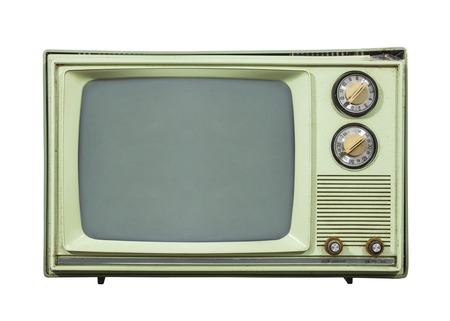 television set: Grungy green vintage television set isolated on white.