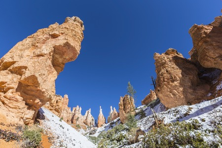 Hoodoo formations and frosty ground at Bryce Canyon National Park in Southern Utah. Stock Photo