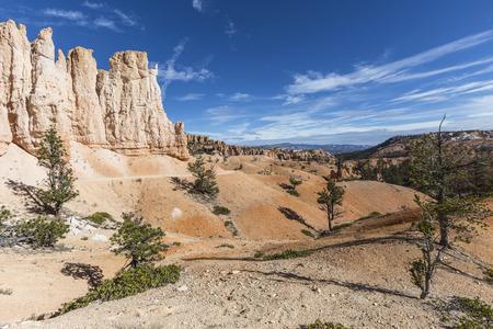 hoodoo: Trail through hoodoo desert like formations at Bryce Canyon National Park in Southern Utah. Stock Photo