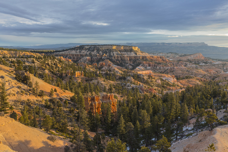 Fall morning view from the Rim Trail at Bryce Canyon National Park in Southern Utah. Stock Photo