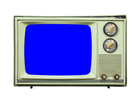 television set: Grungy green vintage television set isolated with chroma key blue screen. Stock Photo