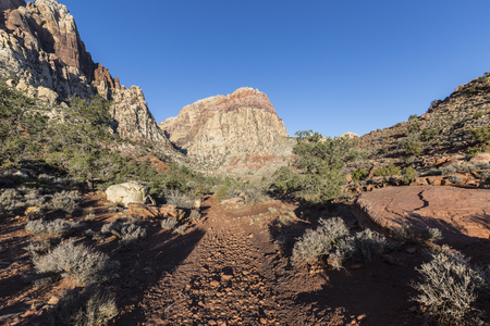 red rock national conservation area: Scenic trail towards Rainbow Peak at Red Rock Canyon National Conservation Area near Las Vegas Nevada. Stock Photo