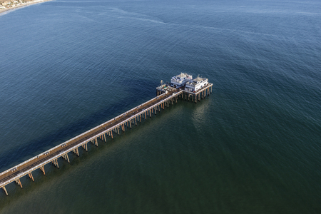 Aerial view of Malibu Pier State Park and the Santa Monica Bay.