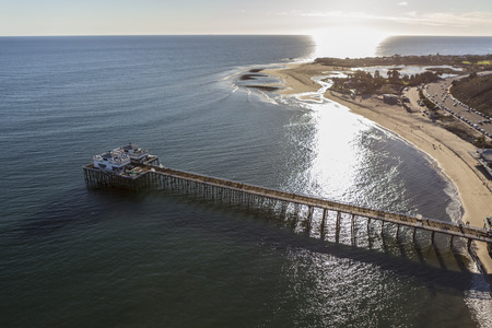 Aerial of Malibu Pier, Surfrider Beach and Malibu Lagoon in Southern California.