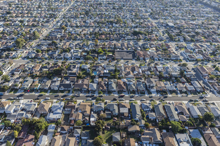 los angeles county: Aerial of dense neighborhoods in Los Angeles County California.