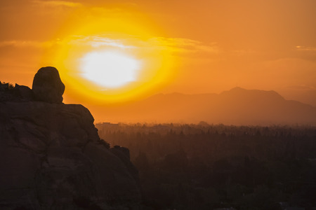 Sunrise view of Stoney Point and Griffith Park in Los Angeles California.