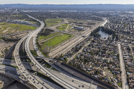 Los Angeles Hollywood 170 and Golden State 5 freeway interchange in the San Fernando Valley. Stock Photo
