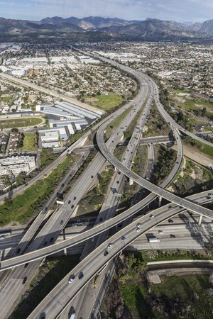 san fernando valley: Aerial of the Golden State 5 and 118 freeway interchange in the San Fernando Valley area of Los Angeles California.