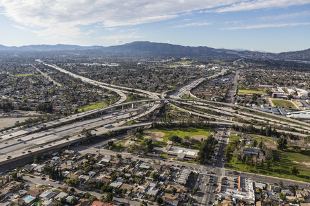Aerial view of Golden State 5 and 118 Freeway interchange in the San Fernando Valley region of Los Angeles California. Stock Photo
