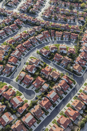 porter house: Aerial view of suburban houses, streets and cul de sacs in the Porter Ranch neighborhood of Los Angeles, California.