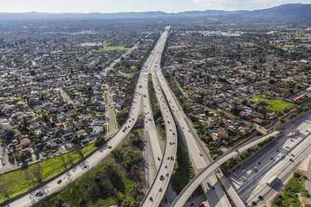 The 118 freeway crossing the San Fernando Valley in Los Angeles California. Stock Photo