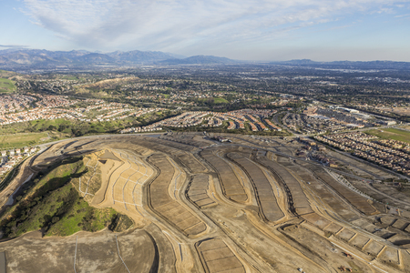 san fernando valley: Aerial view of new neighborhood construction in the Porter Ranch community of Los Angeles California.