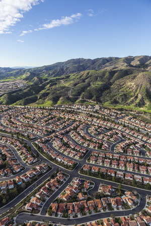 porter house: Aerial view of tidy streets and homes in the Porter Ranch neighborhood of Los Angeles, California. Stock Photo