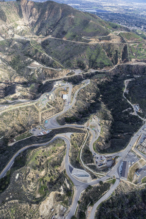 san fernando valley: Porter Ranch, California, USA - January 26, 2017:  Aerial view of continuing work at the Oat Mountain natural gas storage facilty above the San Fernando Valley in Los Angeles California.  The facility was the site of the largest methane leak in American h