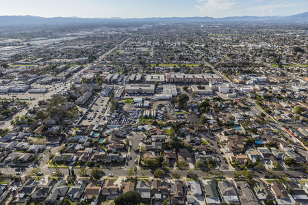 san fernando valley: Aerial view of the Sun Valley neighborhood in the San Fernando Valley region of Los Angeles, California.