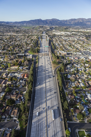 san fernando valley: Aerial view of the 14 lane Golden State 5 Freeway in the San Fernando Valley area of Los Angeles, California.