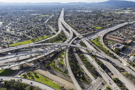 san fernando valley: Aerial view of the Golden State 5 and Route 118 freeway interchange in the San Fernando Valley area of Los Angeles California.