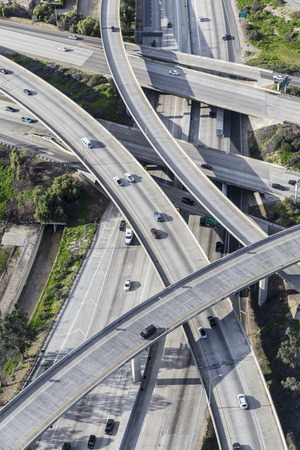 san fernando valley: Aerial of the Golden State 5 and Route 118 freeway interchange in the San Fernando Valley area of Los Angeles California.