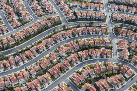 residential neighborhood: Aerial view of tightly packed homes in the Porter Ranch neighborhood of Los Angeles, California.