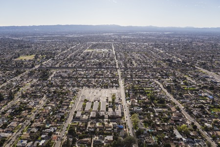 san fernando valley: Aerial view of afternoon haze over the San Fernando Valley in Los Angeles California.