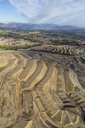 san fernando valley: Aerial view of new neighborhood construction in the Porter Ranch area of Los Angeles, California.   Stock Photo