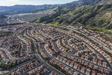 san fernando valley: Aerial view of Porter Ranch neighborhoods in the northwest San Fernando Valley area of Los Angeles, California. Stock Photo